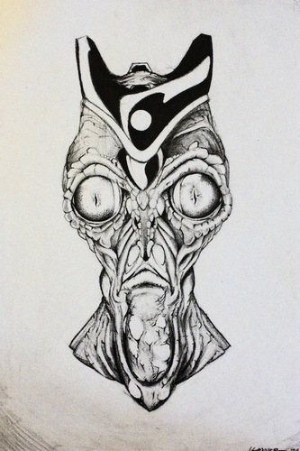 Cartoon: Alien king (medium) by James tagged alien,art,illustration,pencil,creature,weird