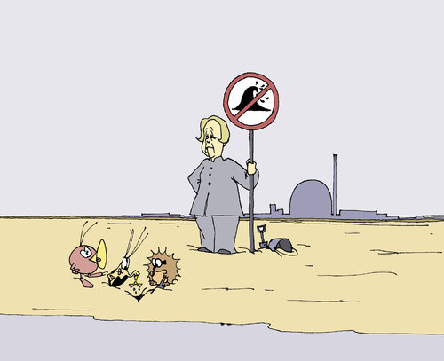 Cartoon: Tsunami-Verbot! (medium) by Pierre tagged atomausstieg,fukushima,merkel,tsunami