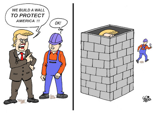 Cartoon: THE WALL... (medium) by Vejo tagged trump,the,wall,protection,protest