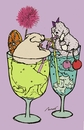 Cartoon: Cocktail (small) by motoko tagged hund,dog,cocktail,alkohol,romantik