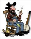 Cartoon: Cousin Gus (small) by deleuran tagged hillbilly,banjo,rocking,chair,country,old,time,american,folk,music,moonshine,whiskey
