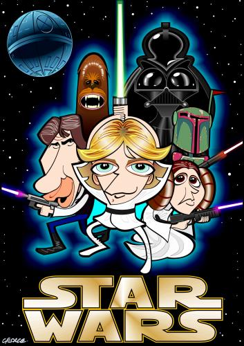 Cartoon: Star Wars (medium) by spot_on_george tagged star,wars,jedi,darth,vader,wooky,luke,skywalker,caricature