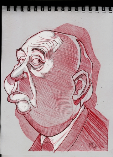 Cartoon: Alfred Hitchcock (medium) by McDermott tagged hitchcock,movies,actors,directors,mcdermott,caricatures,sketchbook