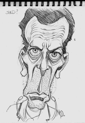 Cartoon: Hugh Laurie from House (medium) by McDermott tagged hughlaurie,house,pencil,drawing,caricature,tv,comedy