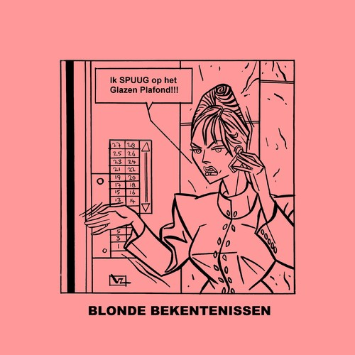 Cartoon: Blonde Bekentenissen - Plafond (medium) by Age Morris tagged tags,blondebekentenissen,blondeconfessions,aboutloveandlife,victorzilverberg,agemorris,spuug,spugen,glazenplafond,carrierevrouw,carrierebitch,domblondje,lift,bellen