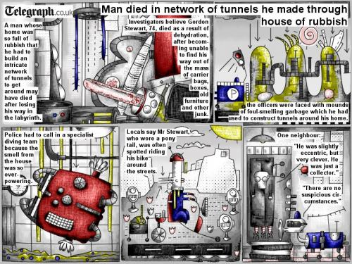 Cartoon: Man died in network of tunnels (medium) by bob schroeder tagged comic,webcomic,tunnels,rubbish,labyrinth,dehydration,junk,garbage,collector