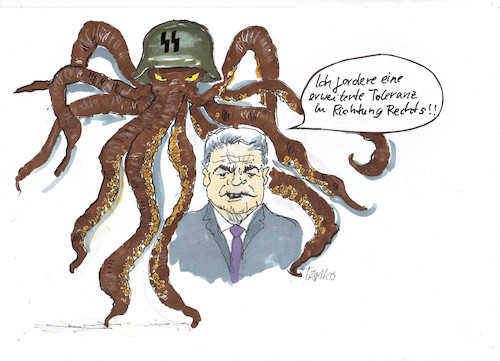 Cartoon: Joachim Gauck (medium) by Skowronek tagged nazis,rechte,afd,gauland,joachim,gauck,skowronek,krake,cartoon