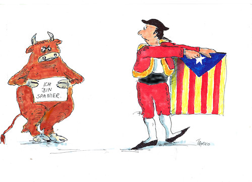 Cartoon: OLE (medium) by Skowronek tagged spanien,katalonien,referendum,eu,unabhängigkeit,stierkampf,torero