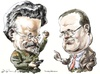 Cartoon: Trotsky-Morozov (small) by Bob Row tagged trotsky,morozov,revolution,web20,technology