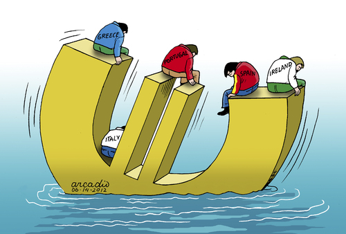 Cartoon: Bad times for some countries. (medium) by Cartoonarcadio tagged euro,crisis,economy,budget,deficit,money