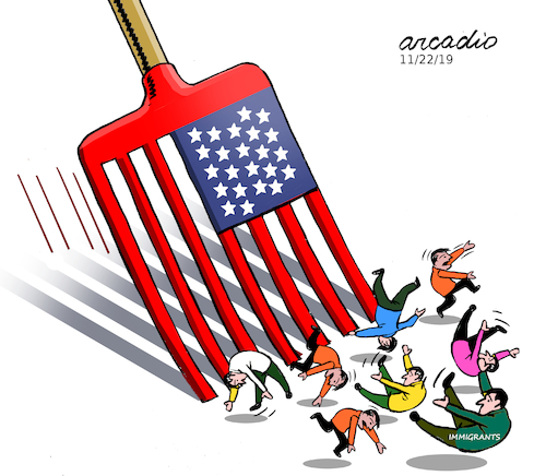 Cartoon: Broom anti immigrants. (medium) by Cartoonarcadio tagged trump,immigrants,washington,white,house