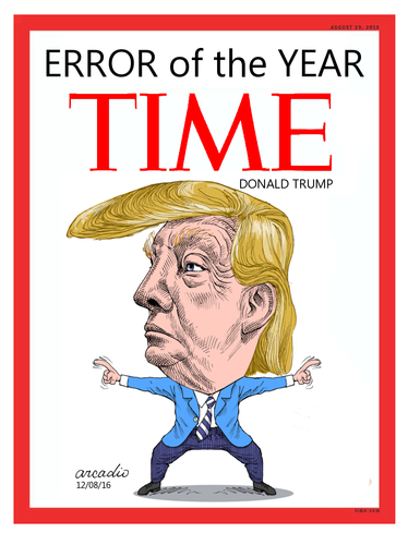 Cartoon: Error of the year. (medium) by Cartoonarcadio tagged time,error,trump,usa,us,election