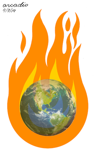 Cartoon: Our planet into the fire. (medium) by Cartoonarcadio tagged mother,earth,climate,change,planet