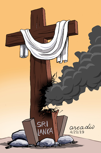 Cartoon: Terror in Sri Lanka. (medium) by Cartoonarcadio tagged terror,violence,sri,lanka,asia