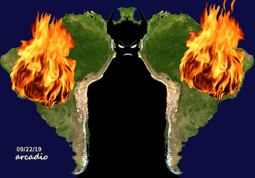 Cartoon: The hell is Brazil. (medium) by Cartoonarcadio tagged brazil,fire,amazon,bolsonaro