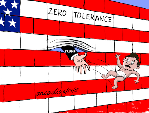 Cartoon: Zero Tolerance. (medium) by Cartoonarcadio tagged immigrants,chilhood,us,politics,trump