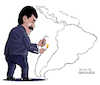 Cartoon: Maduro burns Latin America (small) by Cartoonarcadio tagged venezuela maduro latin america riots violence
