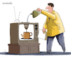 Cartoon: One use for an old TV. (small) by Cartoonarcadio tagged tv humor gag cartoon coffee