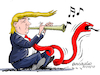 Cartoon: The president of the red tie. (small) by Cartoonarcadio tagged trump,press,free,trade,finances,diplomacy,foreign,affairs