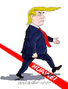 Cartoon: Trump trespasses the red line. (small) by Cartoonarcadio tagged trump,trade,war,washington,white,house,economy,money