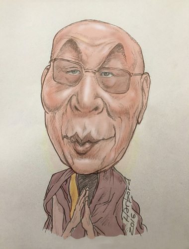 Cartoon: Dalai Lama caricature (medium) by Harbord tagged dalai,lama,buddhist