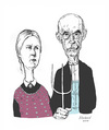 Cartoon: American Gothic caricature (small) by Harbord tagged american,gothic,grant,wood,caricature
