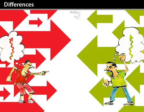 Cartoon: Differences (medium) by PETRE tagged against,opposite,discussion