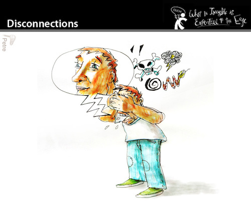 Cartoon: Disconnections (medium) by PETRE tagged thinking,toughts,messages,contradictions