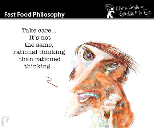 Cartoon: Fast Food Philosophy (medium) by PETRE tagged thinking,toughts,rational