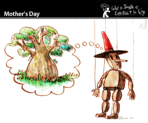 Cartoon: Mother Day (medium) by PETRE tagged mother,maternity,puppet,wood,tree