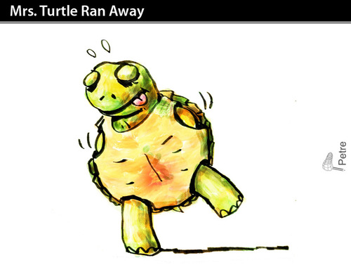 Cartoon: Mrs. Turtle Ran Away (medium) by PETRE tagged love,couples,autosatisfaction