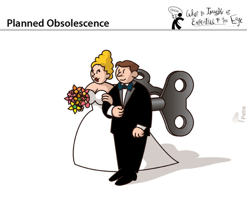 Cartoon: Planned Obsolescence (medium) by PETRE tagged marriage,couples
