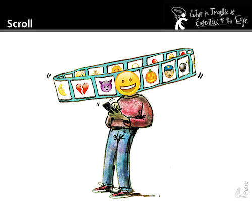 Cartoon: Scroll (medium) by PETRE tagged scroll,iphone,web,socialnets