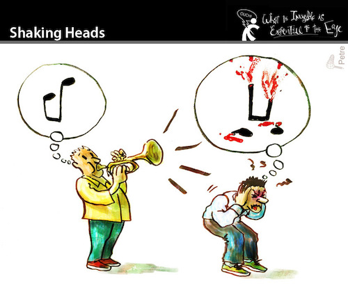 Cartoon: Shaking Heads (medium) by PETRE tagged musician,music,bad,horrible,views