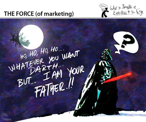 Cartoon: THE FORCE of marketing (medium) by PETRE tagged christmas,santaclaus,gifts