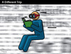 Cartoon: A DIFFERENT TRIP (small) by PETRE tagged books,reading,creativity,landscape