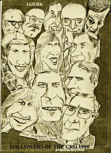 Cartoon: Cro followers (medium) by jjjerk tagged cro,players,cartoon,1988,dublin,ireland,actors,irish,caricature
