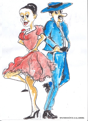 Cartoon: Spanish dance one (medium) by jjjerk tagged hat,blue,red,dance,dancers,caricature,cartoon,spain