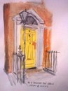 Cartoon: 8 Cavandish Row (small) by jjjerk tagged yellow,door,cartoon,caricature,railings,lamp,red,brick,dublin,ireland