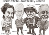 Cartoon: Balla Ban Art Gallery members (small) by jjjerk tagged balla,bawn,dearbhla,gallery,ray,sherlock,dave,gleeson,westbury,mall,dublin,ireland,irish,cartoon,caricature,overcoat,glass,wine,artist,junk,sale,famous