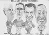 Cartoon: Bell Art Group members (small) by jjjerk tagged caricature,derek,bobby,pencil,michael,tony,glasses,irish,bellcamp,village,art,group,cartooland