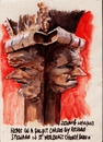 Cartoon: Carved heads on a pulpit (small) by jjjerk tagged dublin ireland irish cartoon caricture red book books pulpit st werburgh church