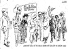 Cartoon: Junk Art sale (small) by jjjerk tagged balla,bawn,gallery,westbury,mall,dublin,ireland,irish,cartoon,caricature,overcoat,glass,wine,artist,junk,sale,famous