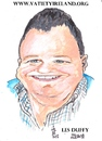 Cartoon: Les Duffy (small) by jjjerk tagged les,duffy,artist,famous,caricature,dublin,cartoon,children,charity,ireland,irish,blue,saint,stephens,green