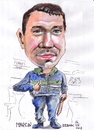 Cartoon: Marcin (small) by jjjerk tagged marcin,poland,cartoon,caricature,blue,green,artist,painter,santry,dublin,ireland,polish