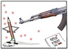 Cartoon: Gun attack on French magazine (small) by cartoonist Abhishek tagged charlie,hebdo,cartoon