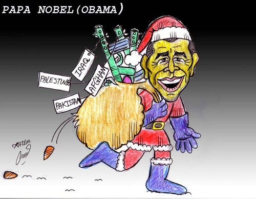 Cartoon: papa nobel (medium) by Hossein Kazem tagged papa,nobel
