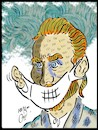 Cartoon: van gogh and mask (small) by Hossein Kazem tagged van,gogh,and,mask