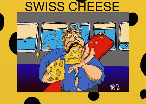 Cartoon: Swiss Cheese (medium) by tonyp tagged arp,swiss,cheese,band,trip,returning,home
