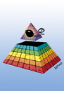 Cartoon: Evolution is blind (small) by LeeFelo tagged evolution,blind,all,seeing,eye,rainbow,patch,evolve,patched,pyramid,esoteric,symbol